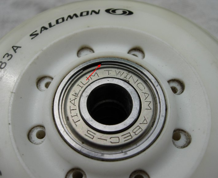 In-line skate wheel and bearing with the c-ring illustrated.